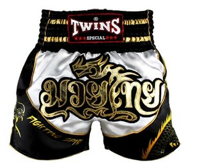 Twins Special Muay Thai Boxing Shorts Dragon White Black