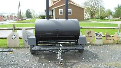 Custom-built Wood or Charcoal SMOKER/GRILL built on trailer - Commercial Quality