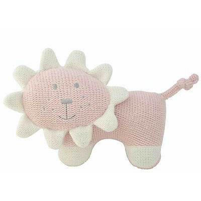 Alimrose Designs Baby Knit Toy Rattle Pink Lion