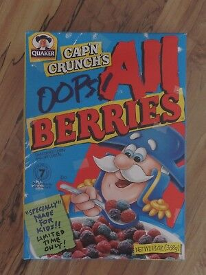 Quaker cereal Cap'n Crunch's OOPS ALL BERRIES Limited Time FULL box 13 oz 1998