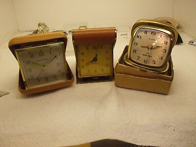 Lot Of (3),mid-Century Travel Alarm Clocks,4U2Fix,sloan,new Haven,phinney Walker