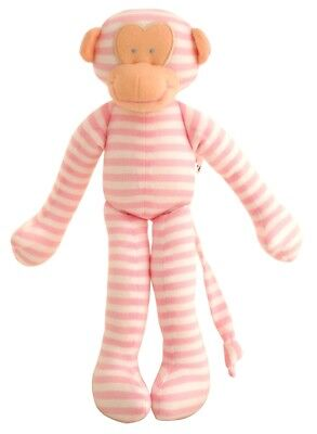 Alimrose Designs Baby Toy Rattle Monkey Pink Stripe 30cm