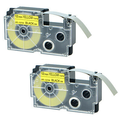 2 PK XR-12YW Compatible for Casio EZ-Label Printer Tape 12mm Yellow Label Tapes