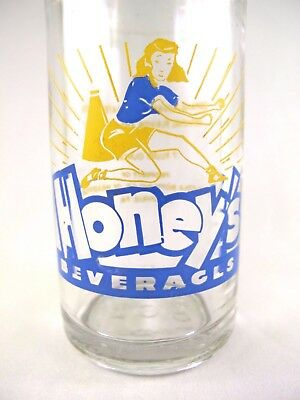 YAVA Glass - RARE Vintage HONEY'S Beverages Bottle by COCA-COLA