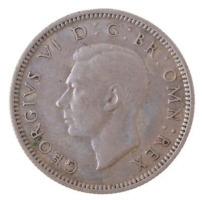 1943 Britain UK England 6 Pence Sixpence Silver Coin