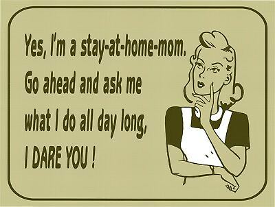 Ask Me Stay At Home Mom I Dare You Funny Retro Vintage Metal Tin Sign 9x12