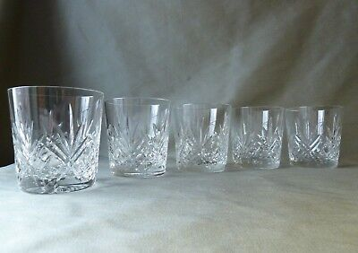 5 Crystal Whisky Glasses , NOT Signed, h 8,7cm
