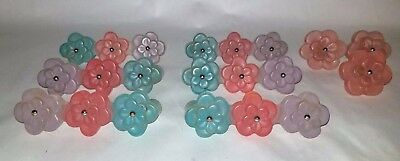 Vintage 9 Retro Frosted Pastel Lucite Drawer Pulls Knobs Flowers