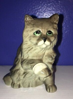 Royal Doulton Porcelain Grey Long Hair Cat with Injured Paw Get Well Figurine
