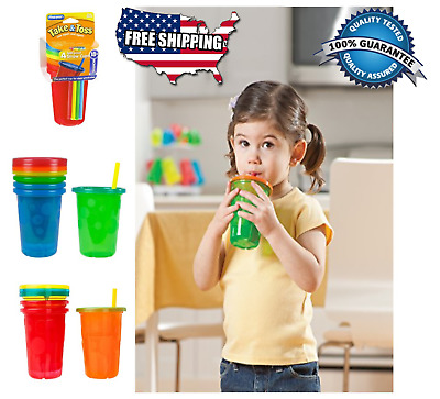 4 Pack Spill-Proof Plastic Cups Tumbler Sippy With Lids Straws Baby Toddler Kids