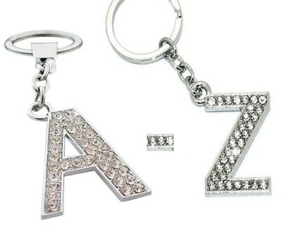 A - Z Initials Alphabet Keyring Silver Shiny Key Ring Key Chain Sparkle Diamante
