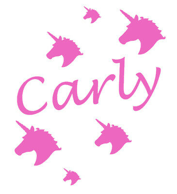 Personalised Name/Unicorn Heads Wall Art, Boys/Girls Room,Custom Vinyl Sticker