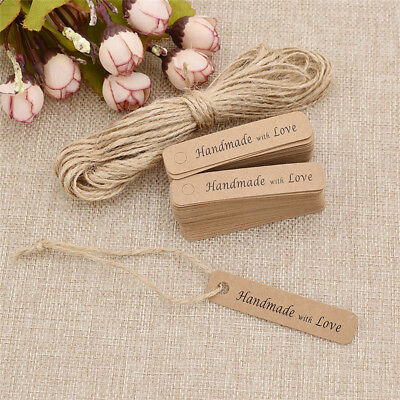 100 Pcs Kraft Paper Handmade with Love Tags Craft Party Blank Card for Wedding