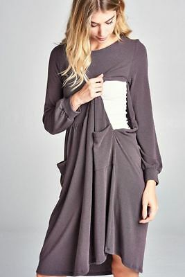 Nursing friendly sweater dress
