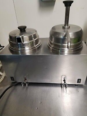 Server Twin Hot Topping Warmer with 1 Pump Dispenser and 2 Ladles - Works Great!