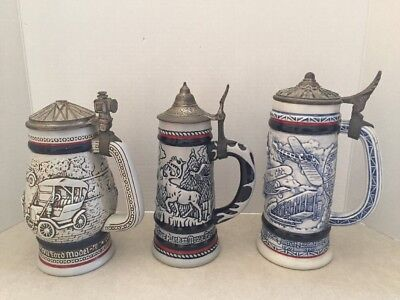 Vintage Collectible Lidded AVON BEER STEINS - LOT OF 3 - FREE Shipping