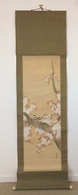 Vintage Japanese kakejiku hanging scroll, birds, Japan import 200cm (AE1823)