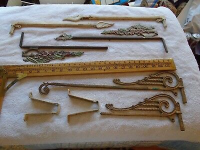 6 vintage metal swing arm adjustable curtain rods 2 wall brackets 2 with problem