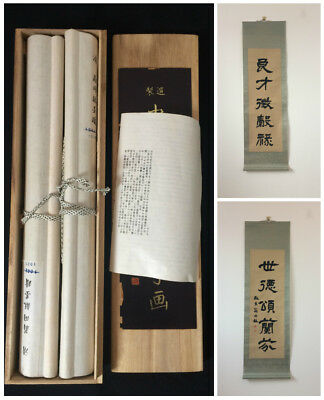 Two vintage Chinese calligraphy hanging scrolls with box, Japan import (W1815)