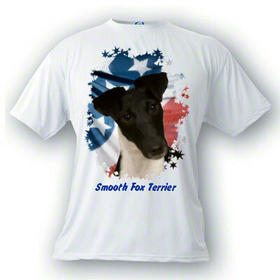 Smooth Fox Terrier  black # 1  Stars & Stripes  PERSONALIZED Custom  Pet T shirt