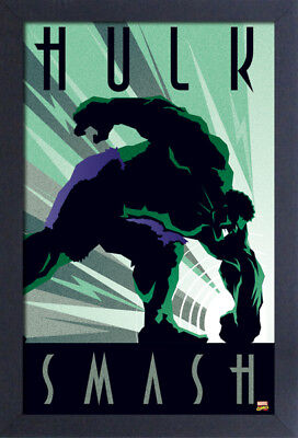 HULK ART DECO SMASH 13x19 FRAMED GELCOAT POSTER MARVEL COMICS VINTAGE GIFT NEW!!