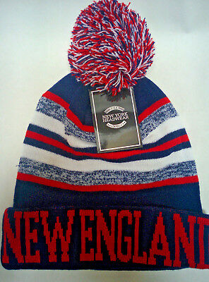 New England Patriots  Team Color Sideline Replica Pom Pom Knit Beanie Hat