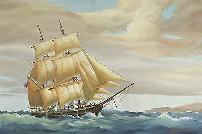Untitled (Ship on Water) By Frederick Fields Signed Oil Painting on Canvas 24x36