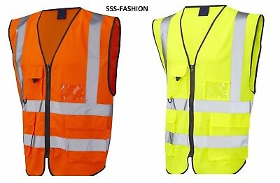 Hi VisViz Vest High Visibility Waistcoat with Phone ID Pockets yellow fluorescet