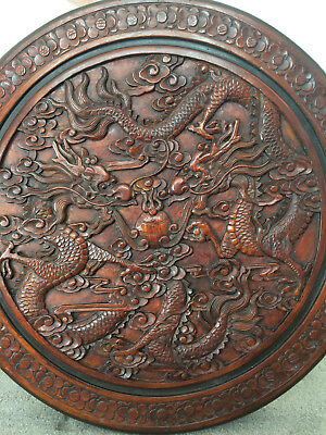 Antique Chinese Dragon Rosewood, Deep-Carved Round Table, Excellent Condition