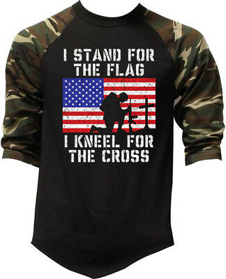 Men's I Stand For The Flag Kneel For The Cross Camo Baseball Raglan T Shirt Army