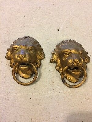 Antique Sessions Adamantine Style Mantle Clock Lions Head Side Decorations