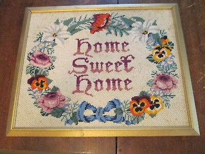 VTG Antique Embroidered Home Sweet Home wall hanging picture cottage shabby