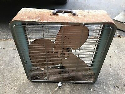 Vintage Fasco Industrial Floor Fan Box Steel Working Modern Model 200 Steampunk