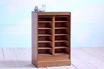 Vintage Retro MidCentury Double Tambour Roller Shutter Filing Cabinet Storage