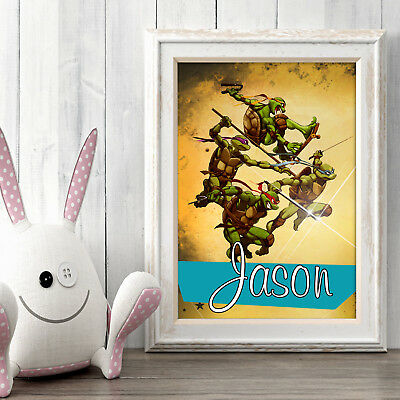NINJA TURTLES Personalised Poster A5 Print Wall Art Custom Name✔ Fast Delivery✔