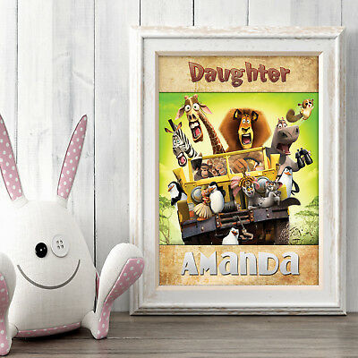 Madagascar Personalised Poster A5 Print Wall Art Custom Name ✔ Fast Delivery ✔
