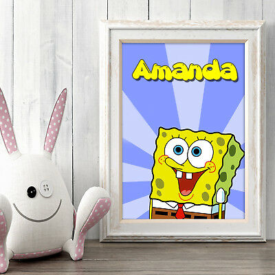 SPONGE BOB Personalised Poster A5 Print Wall Art Custom Name ✔ Fast Delivery ✔