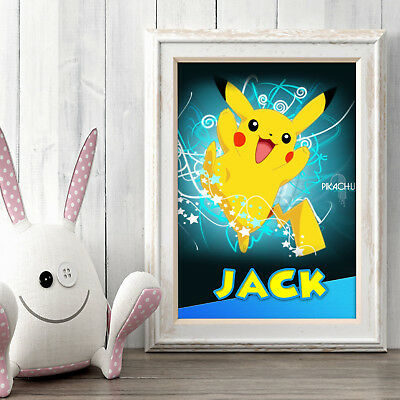 PIKACHU POKEMON Personalised Poster A5 Print Wall Art Any Name✔ Fast Delivery✔