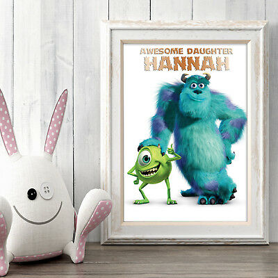 Monsters Inc Personalised Poster A5 Print Wall Art Custom Name ✔ Fast Delivery ✔