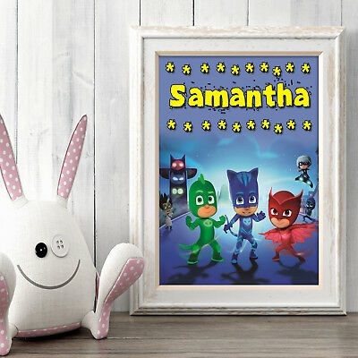 PJ MASKS Personalised Poster A5 Print Wall Art Custom Name ✔ Fast Delivery ✔