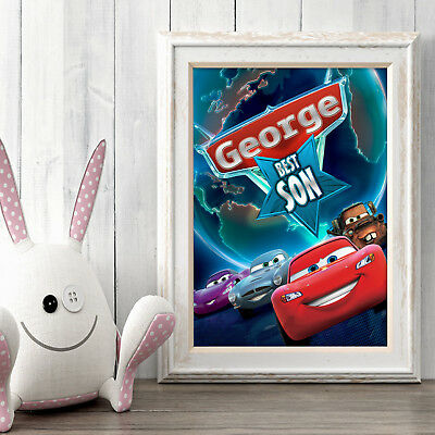 CARS Disney Personalised Poster A5 Print Wall Art Custom Name ✔ Fast Delivery ✔