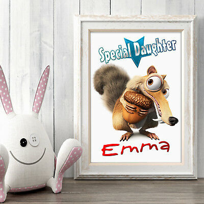ICE AGE Scrat Personalised Poster A5 Print Wall Art Custom Name✔ Fast Delivery✔