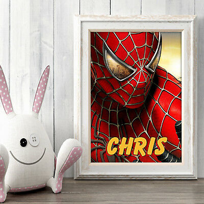 SPIDERMAN Personalised Poster A5 Print Wall Art Custom Name ✔ Spider-Man