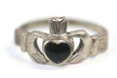 D380 Onyx Claddagh Sterling 925 Ring Size 8