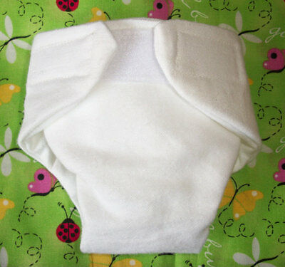 Washable Baby Doll Cloth Diaper Pure White Fits Cabbage Patch  Bitty Baby Alive