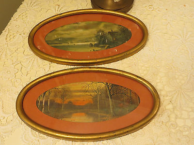 Vintage Pair Of Oval Prints In Gold Metal Frame Sun Down And House On Lake