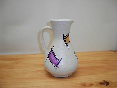 MCM Pottery Mottled Germany Abstract Pitcher Vintage Handled Mid Century Modern
