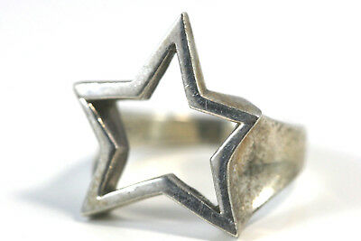 "D385 Star Cut out Sterling 925 Ring Top 1""wide Size 7 1/2"