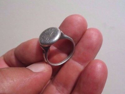 ancient late Roman - Middle Ages silver engraved ring