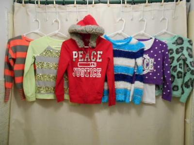 6 Pc Mixed Lot Girls Size 12 Justice Pre-owned Tops, Sweaters & Hoodie